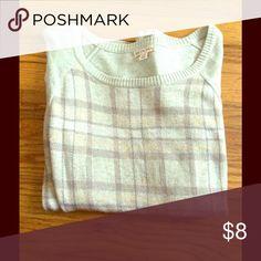 Merona Light Gray Plaid Sweater Light gray Plaid sweater with dark gray and peach Plaid print. Worn twice. Merona Sweaters Crew & Scoop Necks