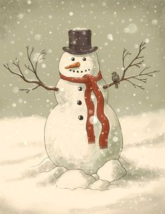 The Holiday Aisle 'Christmas Snowman' Painting Print on Wrapped Canvas Size: Vintage Christmas Cards, Christmas Pictures, Christmas Snowman, All Things Christmas, Winter Christmas, Christmas Holidays, Christmas Crafts, Merry Christmas, Christmas Decorations