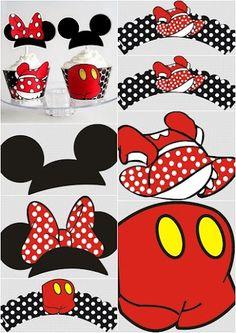 Wrappers y Toppers para Cupcakes de Minnie y Mickey para Imprimir Gratis.
