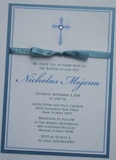 Boy Baptism-Communion Invitation with Bow
