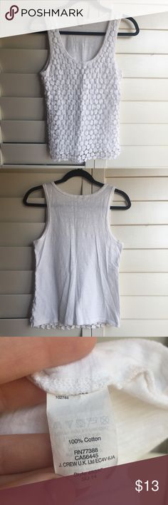 J. Crew White dot overlay tank Super cute shirt. Looks great layered. I just don't like to wear tank tops! All reasonable offers considered. J. Crew Tops Tank Tops