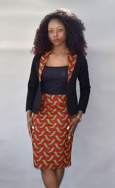 African Print Pencil Skirt and African Print Blazer I Rufina Desi. Women Fashion African Print Pencil Skirt and African Print Blazer I Rufina Desi. Latest African Fashion Dresses, African Dresses For Women, African Print Dresses, African Print Fashion, African Attire, African Prints, African Skirt, African Print Dress Designs, Nigerian Fashion