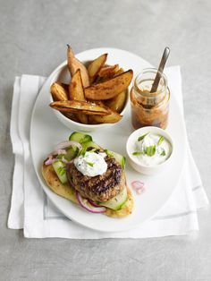 An Indian take on a traditional burger. This tandoori lamb burger recipe can be made-ahead and frozen. Lamb Mince Recipes, Lamb Burger Recipes, Grilling Recipes, Beef Recipes, Cooking Recipes, Tandoori Recipes, Barbecue Recipes, Bbq, Spicy Potato Wedges