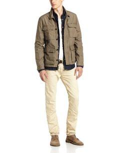 John Varvatos Star USA Men's Unlined Military Jacket Jacket, Tent Green