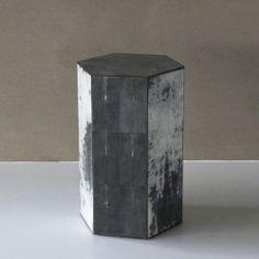 HONEYCOMB MEDIUM pillar hexagon, grey stone top, dark grey parchment and caviar stingray. #Cravt #DKhome #Craftsmanship #Living #Pillars #Stingray #Luxuryfurniture