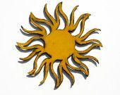 """SUN Wall Art - 24"""" Garden Art - indoor outdoor - yellow with rust patina"""