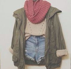 pink scarf + denim shorts