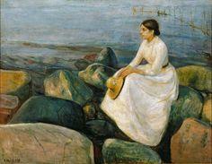 """Edward Munch 1889 (Summer Night) Inger on the Beach oil on canvas 126.5 x 161.5 cm Bergen Art Museum, Norway """