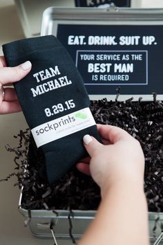 Will You Be My Groomsman? Lunch Box We LOVE this idea and we're thrilled that our custom printed groom and groomsmen socks are included in the fun!