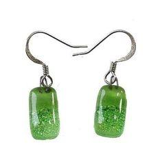 Small Rectangular Glass Earrings - Green Bubbles Handmade and Fair Trade