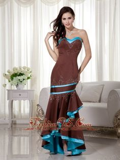 Brown and Blue Mermaid Sweetheart Satin Prom Dress with Asymmetrical Beading  http://www.fashionos.com/  http://www.facebook.com/quinceaneradress.fashionos.us  This prom dress features a sweetheart neckline with beading. This dress is a gown that is hemmed to end just at the shin. It has a fun, flirty appearance that is perfect for a slightly casual or more relaxed appearance at the prom. The back features a corset-style closure that ensures a perfect fit.