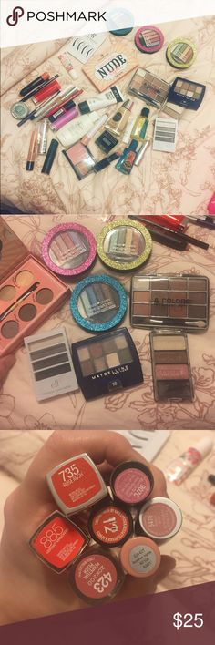 Makeup bundle! 💃🏻 Cleaning out my collection, these are some of the products I just don't use as much since I started buying more high end brands. Hard Candy eye sparklers (3 different palettes) essence how to make nude eyes, plus four other small eye palettes. Clean foundation is in 105 ivory, neutrogena healthy skin brightening eye perfector in 09 buff, urban decay eyeshadow in haight, colourpop lip liner in bull chic, blushes primers lipsticks eyeliners and an eyebrow stencil kit! NYX…