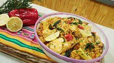 Arroz con pollo y tomate