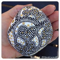 #instacollage#paintstone#black#white#gold#heart