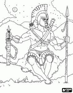 Ancient Greek Olympics Coloring Pages | Ares, the feared god of war. A strong and brutal warrior who takes ...