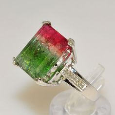 watermelon tourmaline engagement ring !!<3