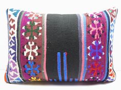 "Turkish Rug Kilim Kelim Lumbar Pillow Cover 20"" X 14"" Kilim Rug Throw Pillows #Turkish"