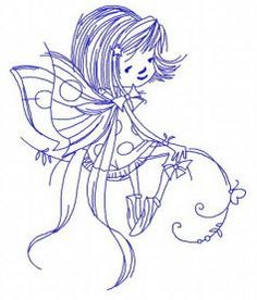 Young fairy embroidery design