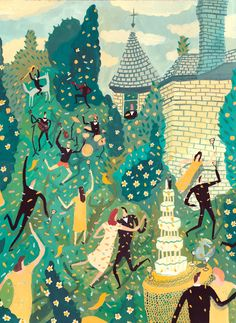 so much love and energy in this illustration! a wedding invitation illustration by nicholas stevenson. Art And Illustration, Illustrations Posters, Wedding Illustration, People Illustration, Storyboard, Painting & Drawing, Folk Art, Design Art, Art Photography