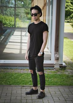 Primark Sunglasses, H&M Plain T Shirt, Primark Diy Ripped Denim Jeans, H&M Trilby, Pull & Bear Leather Shoes, Aeon Watch