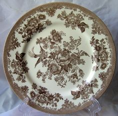Decorative Dishes - Brown Tan Toile Rose Exotic Bird Paris Chinoiserie Plate M, $24.99 (http://www.decorativedishes.net/brown-tan-toile-rose-exotic-bird-paris-chinoiserie-plate-m/)