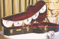 Simple & Chic Music Inspired Wedding This is a great idea instead of the traditional bird cage or bag or something. Guitar Wedding, Wedding Reception Music, Theatre Wedding, Card Box Wedding, Wedding Gifts, Wedding Things, Wedding Stuff, Trendy Wedding, Our Wedding