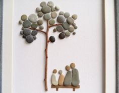 This unique image of a family of 4, sitting on a bench under a tree can be an original gift for your friends, family or home. Framed 3D wall art that is a great gift idea for new home housewarming, anniversary or birthday. All materials are hand-collected by me from the beaches around my hometown Varna, Black Sea coast. Pebbles are washed and dried before being used. Framed with a white matting and custom made wooden frame in vintage style /sandy color/. The frame is handmade, hand painted…