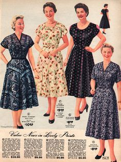 Spring and Summer 1955 Lane Bryant Vintage Outfits, 1950s Outfits, Vintage Dresses, 1950s Style, 1940s Fashion, Vintage Fashion, 1950s Dress Patterns, Summer Outfits For Teens, Summer Dresses