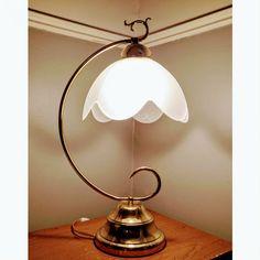 Lampe+fleur+art+nouveau+vintage+verre+opaline