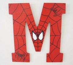 L and A for the boys' room. Batman and Spiderman Painted Letters, Wooden Letters, Hand Painted, Superhero Room, Superhero Party, Superhero Classroom, Spiderman Hand, Spiderman Theme, Ck Summer