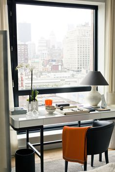 Workspace with a view.   Office decor,office decor ideas, home decor ideas, office inspirations, modern office luxury furniture, home furniture,high end furniture, desks, table desks  For more inspirations: http://www.bocadolobo.com/en/inspiration-and-ideas/