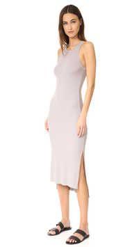 47985006660 Shop Enza Costa Rib Sleeveless Side Slit Midi Dress in Lunar Grey at  Modalist