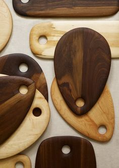 Solid Walnut Wood Board from Dominik Woods  • $89 • Etsy  These wood boards really caught my eye. The teardrop shape is unusual and beautiful, with soft rounded edges, and that lovely walnut grain. The boards are treated with a blend of beeswax and food-safe mineral oil. One of the nicest cheese boards I've seen in a while.