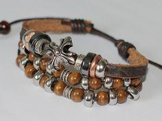 005 Men's brown leather bracelet Cross bracelet by mylenium77
