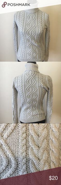 Ralph Lauren cable knit sweater turtle neck small Ralph Lauren petite small cable knit sweater in a silver gray with metallic threading. Good condition. Nice thick well made. 16 arm to arm and 23 shoulder to hem. Ralph Lauren Sweaters Cowl & Turtlenecks
