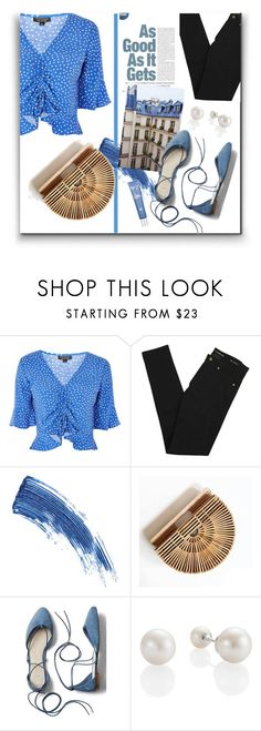 """Blue dots"" by michellebelle73 ❤ liked on Polyvore featuring Topshop, Yves Saint Laurent, Eyeko and Gap"