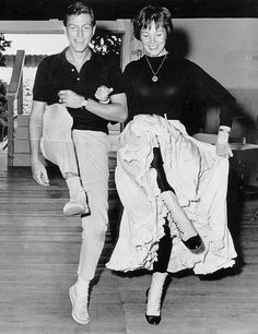 "tracylord: ""  Dick Van Dyke and Julie Andrews in rehearsal for Mary Poppins (1964) """