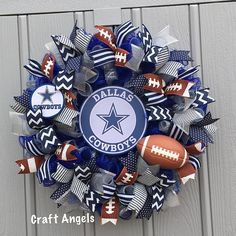 Your place to buy and sell all things handmade Dallas Cowboys Crafts, Dallas Cowboys Wreath, Football Wreath, Sports Wreaths, Mesh Wreaths, Cowboy Crafts, Wired Ribbon, How To Make Wreaths, Deco Mesh