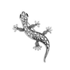 Antique silver plated lizard