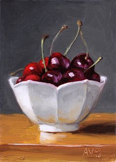 Cherries Still Life Painting, original fruit painting by Aleksey Vaynshteyn