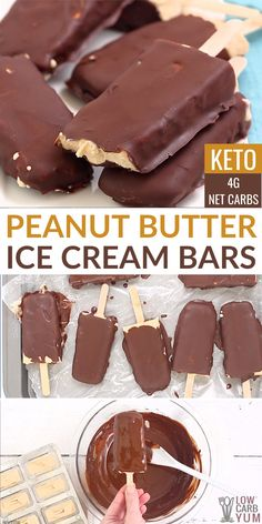 Keto peanut butter ice cream bars coated in chocolate are a favorite frozen low-carb treat. Keto peanut butter ice cream bars coated in chocolate are a favorite frozen low-carb treat. Keto Desserts, Keto Dessert Easy, Ice Cream Desserts, Frozen Desserts, Ice Cream Recipes, Keto Snacks, Dessert Recipes, Low Carb Recipes, Frozen Treats