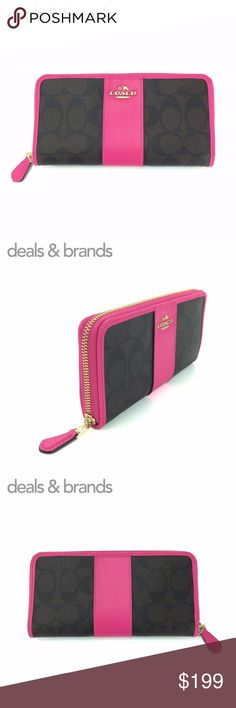 """NWT COACH Signature Coated Accordion Zip Wallet COACH SIGNATURE COATED CANVAS ACCORDION ZIP WALLET F54630 in BROWN/BRIGHT FUCHSIA ITEM NO: F54630 RETAIL PRICE: $250.00 COLOR: Brown/Bright Fuchsia CONDITION: NEW with TAGS, with gift box  Signature coated canvas with crossgrain leather trim Gold hardware 12 credit card slots Full-length bill compartments Zip coin pocket Zip-around closure 7 1/2"""" (L) x 4"""" (H) Fits all phone sizes up to an iPhone X and Samsung S7 Edge Coach Bags Wallets"""