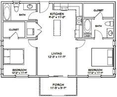 Items similar to House -- -- 864 sq ft -- PDF Floor Plan . Guest House Plans, Small House Floor Plans, Cabin Floor Plans, Small House Plans Under 1000 Sq Ft, The Plan, How To Plan, 1000 Sq Ft House, 2 Bedroom Floor Plans, 2 Bedroom Apartment Floor Plan