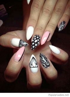 Black and white manicure with pink nails