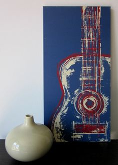 Six String in Red 12 x 24 Mixed Media on Canvas