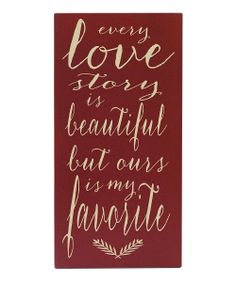 Red & Cream 'Every Love Story' Wall Art | Daily deals for moms, babies and kids