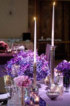 Layered shades of purple, from the tablecloth to the hydrangea centerpiece, give depth to the tablescape.