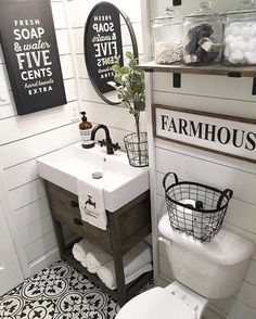 I love white paint and wood farmhouse, rustic bathrooms