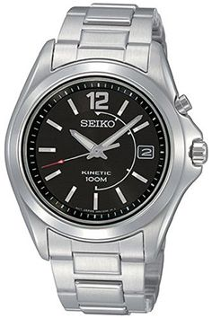 Seiko SKA477P1 Men's Watch Stainless Steel Kinetic Black Dial Power Indicator