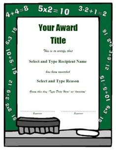 templates for classroom awards